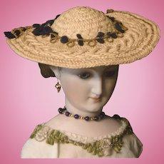 Straw French Fashion Doll Hat