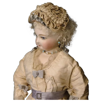 Ivory-Colored Braided French Fashion Doll Hat