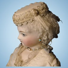 French Fashion Cream Wool Doll Hat