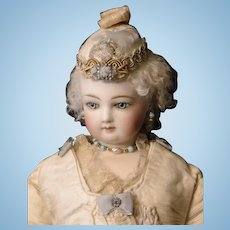 French Fashion Cream Wool Doll Hat