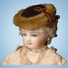 Brown Wool and Faux Fur Hat for French Fashion Doll