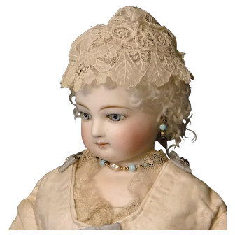 Cream Colored Lace Hat for French Fashion Doll