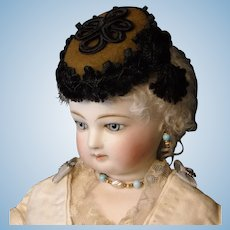 Brown Wool and Black Soutache French Fashion Doll Hat
