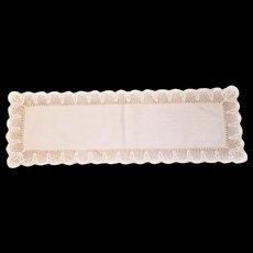 "Linen Piano Dresser SCARF Linen Wide Crocheted border 36"" by 12"""