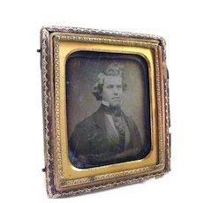 "Daguerreotype Gentleman Young Man Ascot Gilt FRAME 3 1/8"" X 3 5/8"""