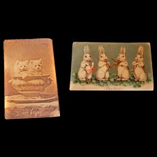 2 Early 1900s Postcards Easter Kittens