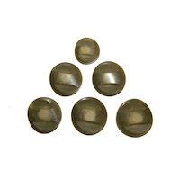 """6 Buttons ART DECO Bakelite Fancy 1 5/8"""" Large 1 3/8"""" Smaller COAT Buttons"""