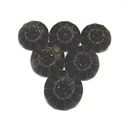 6 Glass Black Silver LUSTER Shank Buttons VINTAGE 23mm