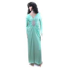 1960s Jack Bryan POLYESTER Medallion CREST Dress BLING Small Aurora Borealis CRYSTALS