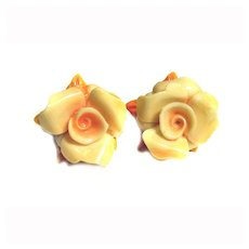 Celluloid Floral Screw Back Earrings TIERED Dainty