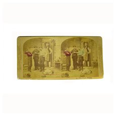 1875 Albumen Melander Photographer Group PORTRAITS Stereo Card View Hand Tinted CHILDREN