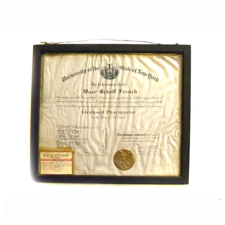 1918 Pharmacist License Diploma Certificate New York State