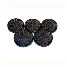 5 Black Glass Gold Accents Shank BUTTONS 27mm LARGE C
