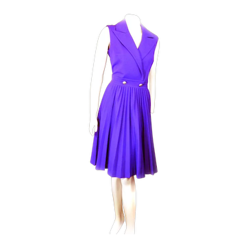 Butte Knit 1960s Purple Dacron POLYESTER Dress Size 14 Time To PARTY!
