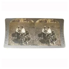 """Stereo View Card ALBUMEN Lovers Early 1900s E W Kelley """"Rivals"""""""