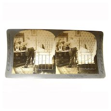 """Stereo View Card ALBUMEN Bedroom 1907 E W Kelley """"Putting a 15 Collar on a 16 Shirt"""""""
