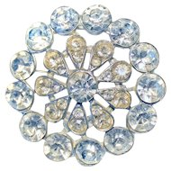 1950s 47mm Brooch Pin 8mm Rhinestones FLASHY!