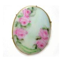~ porcelain ~ hand painted BROOCH gilt brass STUNNING!