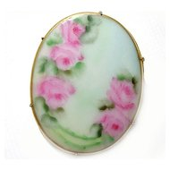 ~ porcelain ~ hand painted BROOCH gilt brass STUNNING!