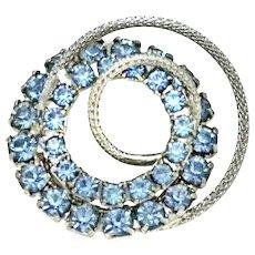 "Circle Pin Blue Rhinestones Three Dimensional Silvertone 1 3/8"""