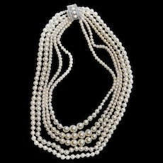 Sarah Coventry 5 strand Faux Pearl CONVERTIBLE Necklace Two In One THREE Different Looks! Fancy Clasp