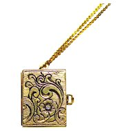 """Photo Album Locket with CZ SPRING LOADED Pull Open Latch To Display 4 Little PICTURES! 30"""" Chain"""