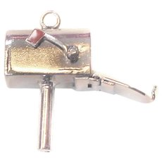 Mailbox Sterling Silver ENAMEL Flag Moveable