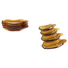 *RARE* Amber Glass Four SODA FOUNTAN Banana Split Dishes