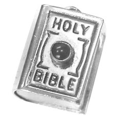 HOLY BIBLE Charm Sterling Silver Cabochon Moonstone