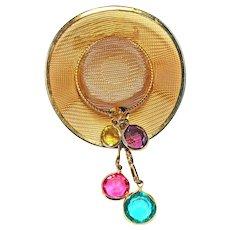 Goldtone Mesh Cowboy Hat Brooch Pin CRYSTALS