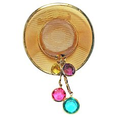 Goldtone Mesh Cowboy Hat Brooch Pin CRYSTALS
