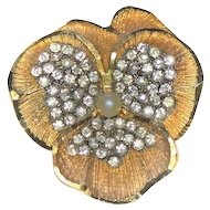 BSK Brooch Pin PANSY Rhinestones Faux Pearl Goldtone Sparkly!