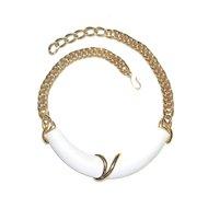 Monet Vintage Bib Necklace White LUCITE 1970s SIGNED