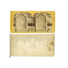 Stereo View Pre 1873 Antique Rare Canda Tombstone GREENWOOD Cemetery