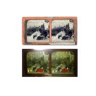 Stereo Tissue View Card 1850s * RARE * 'Vues Des Pyrenees'  la Grotte de Lourdes Vue Generale