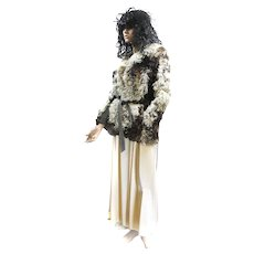 Fur Curly Lamb MONGOLIAN TIBETAN Fur Jacket M Cream Tan Brown Suede Trimmed d'Jimas Furs LOVELY!