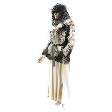 FREE Ship IN US Fur Curly Lamb MONGOLIAN TIBETAN Fur Jacket M Cream Tan Brown Suede Trimmed d'Jimas Furs LOVELY!