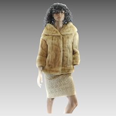 60S Dawn Mink Fur LUXURIOUS Coat Stroller JACKET Large Jackie O