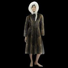 Muscrat Coat HOODED *rare* Custom Canadian Fur FOX Trimmed Collar Ladies Size 38 LONG