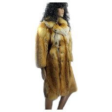 FREE SHIP Red Fox Canadian Fur Coat Ladies CUSTOM MADE Size 36 Ca 1970s