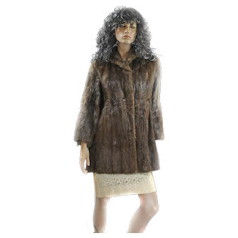 1950s Mink Fur Ladies Medium Swing Coat ¾ Length DEY BROS Bell Sleeves Mint!