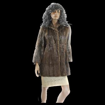 1950s Mink Fur Ladies Medium Swing Coat ¾ Length DEY BROS Bell Sleeves Mint!