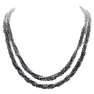 Sterling Silver Twisted Interlocking Open Circles TWO STAND Necklace 52.2 Grams