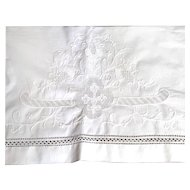 One Pillow Layover Sham Fleur de Lis Linen Drawn Work MADEIRA Wonderful!
