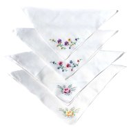 "Four Hankys Hand Embroidered 10"" Square Handkerchiefs FLOWERS"