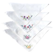 """Four Hankys Hand Embroidered 10"""" Square Handkerchiefs FLOWERS"""