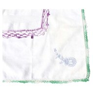 "Two Handkerchiefs Crocheted Edge 10""  Square"