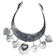 Tribal Collar Hand Made Necklace Wild Birds with HEART Charms