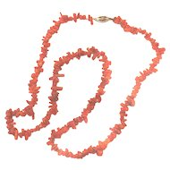 """Vtg Branch Coral Necklace 14K GF Gold Filled Clasp 18"""" Dainty"""
