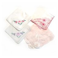 4 Handkerchiefs Dainty Pull Work HAND APPLIQUED Cotton
